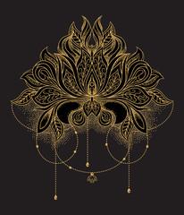 Beautiful hand drawn ornamental gold lotus flower. Ethnic vector