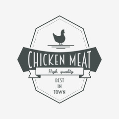 High quality chicken meat. Vector logo, badge or label design template