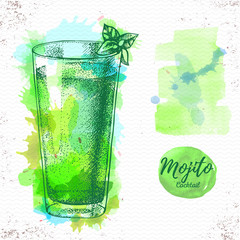 Watercolor cocktail mojito sketch. Cocktail vector illustration