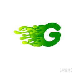 letter G logo,water,splash,waves,green