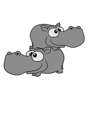children 2 buddies team brothers sibling comic cartoon design sweet little cute baby hippo happy child