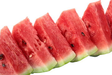 Wall Mural - diagonal row of bright red watermelon slices. isolated on white background