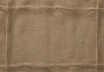 Burlap Fabric Frame Background, Sack Cloth Rope Lint Thread