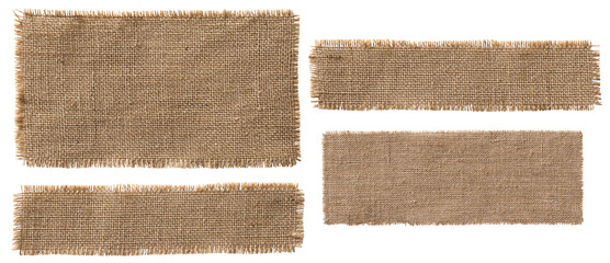 Aluminium Prints Fabric Burlap Fabric Label Pieces, Rustic Hessian Patch Torn Sack Cloth