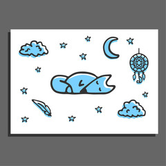 Greeting card with sleeping fox, moon, stars and dreamcatcher