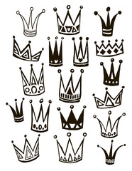 Set of cute cartoon crowns. Hand drawing vector background.  Bright colors. Vector illustration.