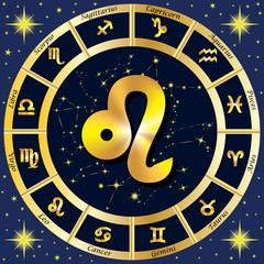 Zodiac Signs, Zodiac constellations. In the center of the sign o