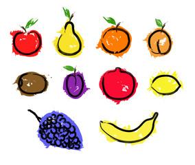 Sketch fruit set illustration