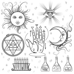 Esoteric signs. Vector symbols of philosophy and alchemy, masonic and occult sciences