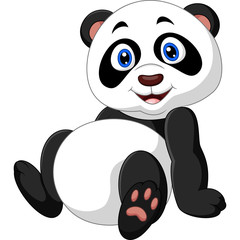 Cartoon panda sitting