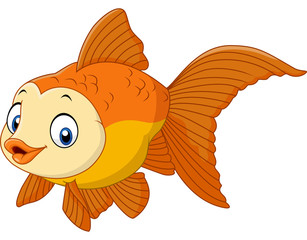Cute cartoon golden fish