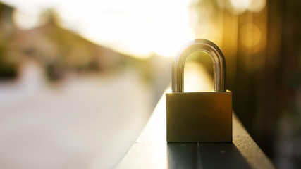 padlock during at sunset.safety or security concept