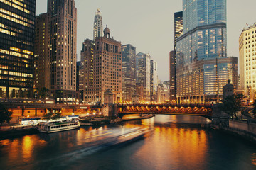 Poster Chicago DuSable bridge at twilight, Chicago.