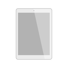 Isolated white tablet. Shiny tablet with template screen on white background.