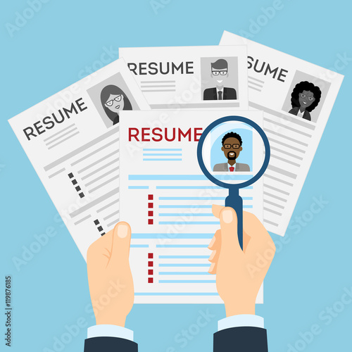 resumes with magnifier at the table cv resume concept finding a