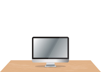 computer on office desk and space background