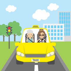Taxi driver with passenger. Riding on the city street. Yellow car for urban service. Scared into grey hair male passenger and female driver.