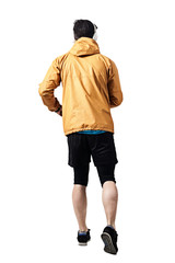Back view of jogger in jacket running. Toned desaturated full body length portrait isolated on white studio background.