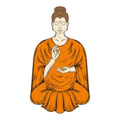 Sitting Buddha in Lotus pose, teaching Buddhism, vector tattoo a