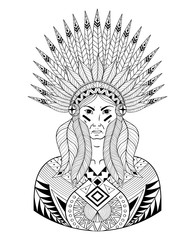 Vector Portrait of Indian head with zentangle War Bonnet. Decora