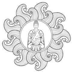 Vector Sitting Buddha in Lotus pose, in waves mandala, teaching