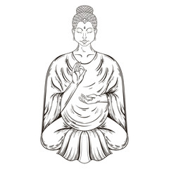 Vector Sitting Buddha in Lotus pose, teaching Buddhism, tattoo a
