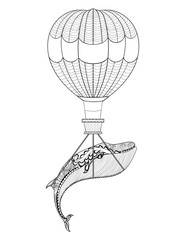 Vector Whale with air balloon patterned background for adult col