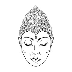 Vector zentangle Portrait of Buddha for ornamental adult colorin