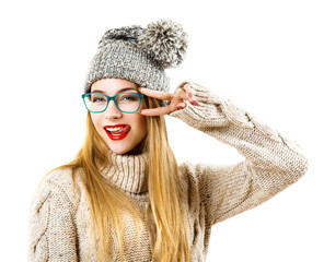 Winter Hipster Girl Going Crazy. Isolated on White