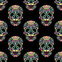 Zentangle stylized color Skull for Halloween, dark seamless patt
