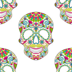 Zentangle stylized color Skull for Halloween, seamless pattern f