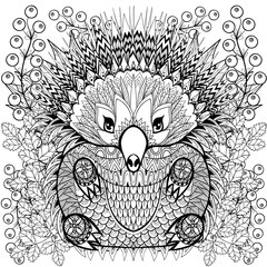 Zentangle stylized Echidna on roses, sunflowers. Freehand sketch