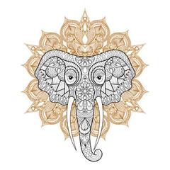 Zentangle stylized ethnic indian Elephant on mandala. Freehand s