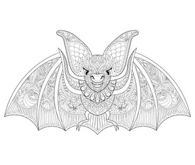 Zentangle stylized flying Bat for Halloween. Freehand sketch for