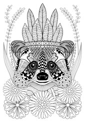 Zentangle stylized raccoon with war bonnet on flowers. Hand draw