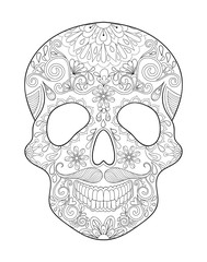 Zentangle stylized Skull for Halloween. Freehand sketch for adul