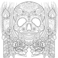 Zentangle stylized Skull with candles, roses, ears for Halloween