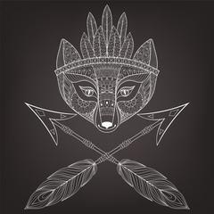 Zentangle vector fox head with indian war bonnet and arrows. Han
