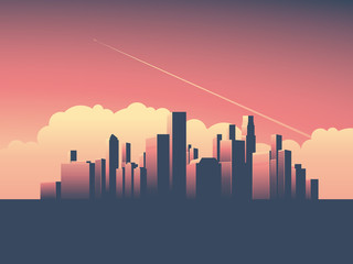 Modern urban cityscape vector illustration. Symbol of power, economy, financial institutions, money and banks.
