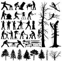 Lumberjack, tree climber, tools and trees editable vector silhouettes