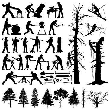 Lumberjack, tree climber, tools and trees editable vector silhouettes