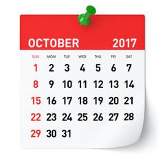 October 2017 - Calendar