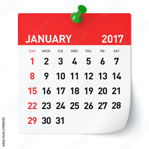 "December 2016 January 2017 Kitchen Of The Month: Calendar"" Stock Photo And Royalty-free"