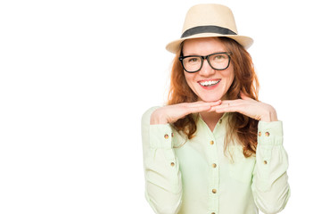 portrait of a girl with glasses on a white background, space on