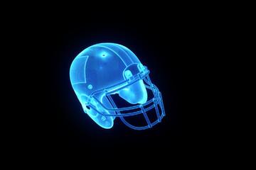Football Helmet in Hologram Wireframe Style. Nice 3D Rendering