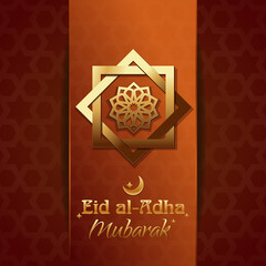 Islamic design with lettering - Eid al-Adha Mubarak. Eid al-Adha - Festival of the Sacrifice, also called the 'Sacrifice Feast' or 'Bakr-Eid'