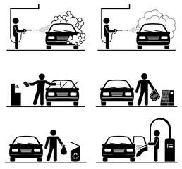 Set of car washing pictograms. 