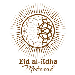 Eid al-Adha  - Festival of the Sacrifice, Bakr-Eid. Ornament, icon and lettering - Eid al-Adha Mubarak. Illustration isolated on white background
