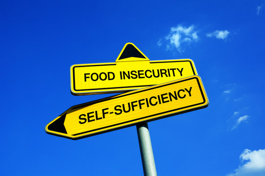 Food Insecurity or Self-Sufficiency - Traffic sign with two options - appeal to have self sufficient agriculture and cultivation of land. Prevention against starvation and famine during crop failure