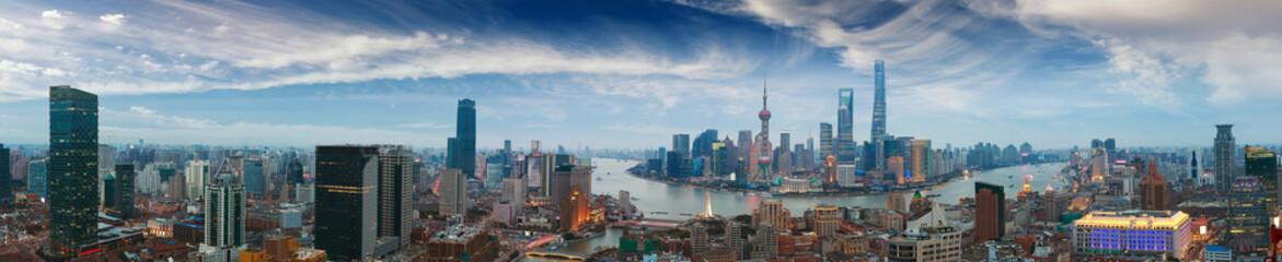 Aerial photography at Shanghai bund Skyline of panorama